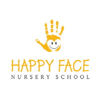 Illustrated Yellow painted hand with smiling happy face drawn in the center. Logo is yellow and dark grey on a white background. Logo is Copyrighted - Happy Face Nursery School - Canada.