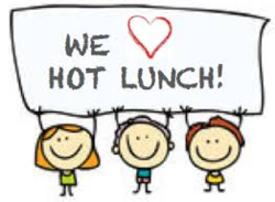 "cartoon image of children holding sign that reads ""we love hot lunch"""